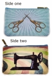 Retro Sewing Machine & Scissor Print Faux Leather Pouch