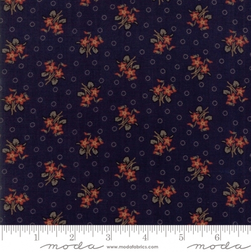 MODA FABRICS - Hickory Road - Navy With Red Floral