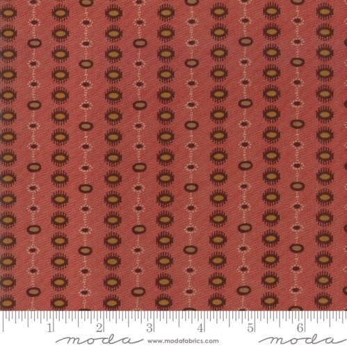 MODA FABRICS - Hickory Road - Red With Brown Medallions