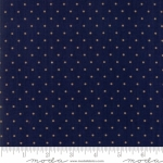 MODA FABRICS - Hickory Road - Navy With Beige Polka Dots