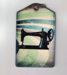 Clearance - Sewing Machine Faux Leather Luggage Tag Tacony