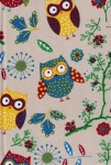 Large Hard Cover Fabric Notebook - Owls - 5.75in X 8.25in