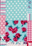 Medium Hard Cover Fabric Notebook - Roses - 4in X 6in