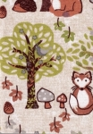 Small Hard Cover Fabric Notebook - In Forest - 3in X 4in