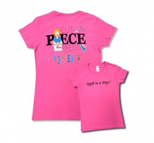Pink 3X Cut Piece Press & Quilt T-Shirt