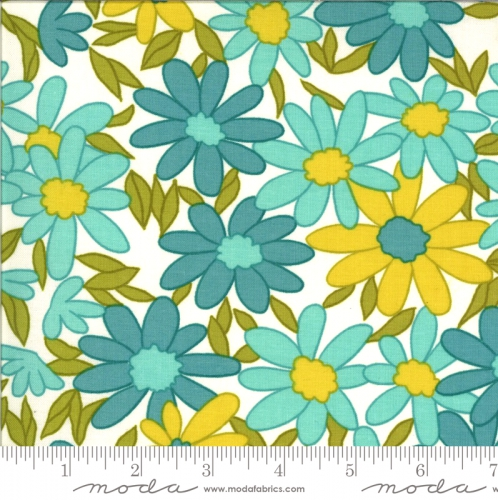 MODA FABRICS - A Blooming Bunch - Aqua