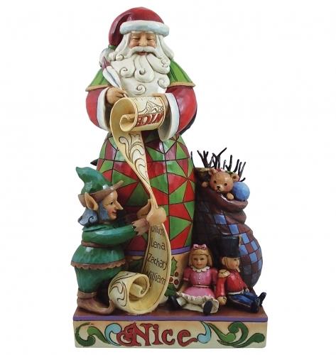 Jim Shore -  Checking It Twice -Two Sided Naughty/Nice Santa Figurine