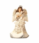 Jim Shore - White Woodland Angel Holding Fawn Figurine