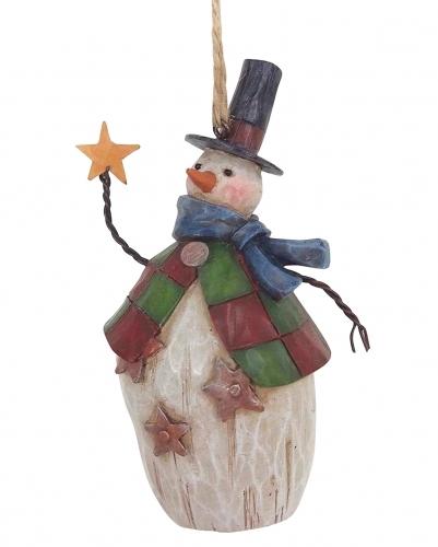 Jim Shore - Folklore Snowman/Top Hat Hanging Ornament