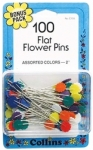 Collins Flat Flower Head Pins 100 count