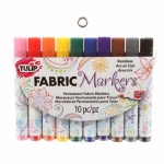 Fabric Markers Brush Tip Rainbow 10 Pack by Tulip