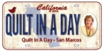 Quilt in a Day Fabric License Plate - CA Quilt in a Day