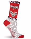 Sock - Butterfly Red by K Bell