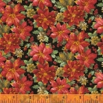 BAUM TEXTILES - Noel - Brown Poinsettias