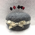 Wooly Felted Wonders - Dark Gray Pincushion 4.5 x 2.5
