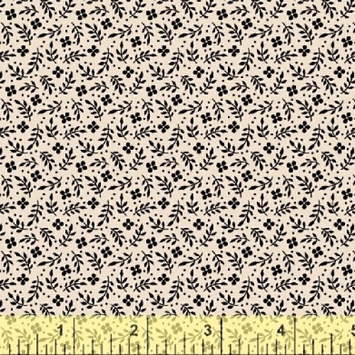 BAUM TEXTILES - Meadow - Tan and Black Floral - #1974-