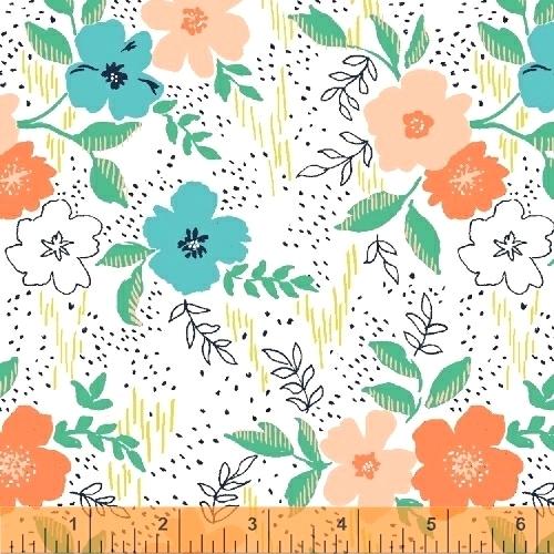 BAUM TEXTILES - Sweet Florals - White Main - FB7022
