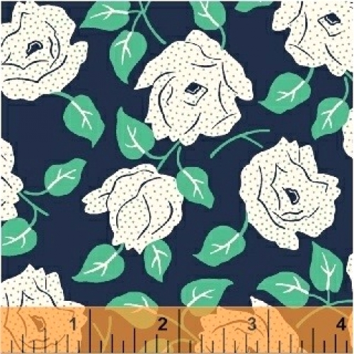 BAUM TEXTILES - Sweet Florals - Navy Dotted Rose FB7021-