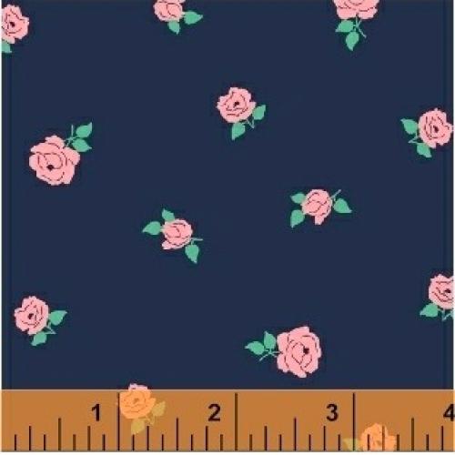 BAUM TEXTILES - Sweet Florals - Blue Tiny Rose - FB7003