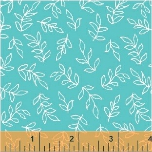 BAUM TEXTILES - Sweet Florals - Blue Scribble Leaves - FB7005