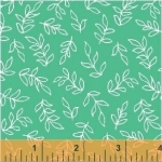 BAUM TEXTILES - Sweet Florals - Teal Scribble Leaves - FB7004