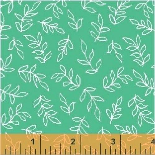 BAUM TEXTILES - Sweet Florals - Teal Scribble Leaves - FB7004