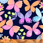 BAUM TEXTILES - Painted Wings - Blue Main - FB7118