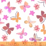 BAUM TEXTILES - Painted Wings - White Butterflies - FB7120