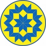 Yellow & Blue Quilt Block Hand Fan