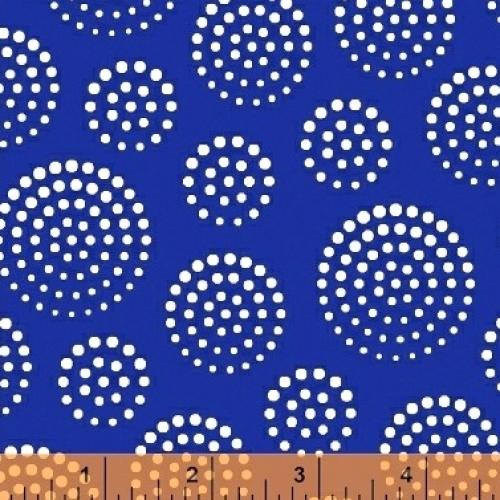 WINDHAM FABRICS - Elements - Blue White Circle Dots - FB7410