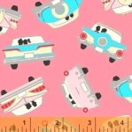 WINDHAM FABRICS - Going Steady - Snuggling in the Car - Pink #3095