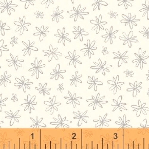 WINDHAM FABRICS - Going Steady - Gray Flowers on White