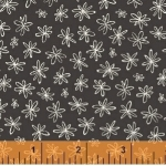 WINDHAM FABRICS - Going Steady - Floral White Flowers on Gray
