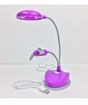 Purple 12 LED Desk Lamp with USB Fan