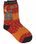 Sock - Celestial Cat Orange by Laurel Burch