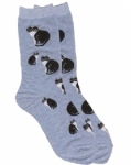 Sock - Black & White Cats Chambray by K. Bell