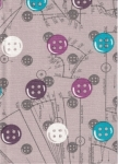 Medium Hard Cover Fabric Notebook - Buttons - 4in X 6in