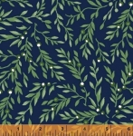 WINDHAM FABRICS - All A Flutter - Leaves Navy