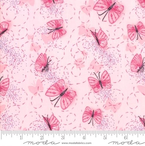 MODA FABRICS - Sweet Pea Lily - Butterflies Pink