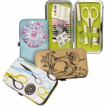 Faux Leather Deluxe Sewing Kit - Scissors Design
