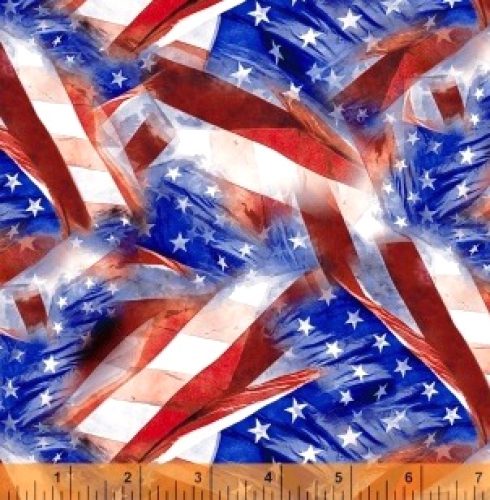 WINDHAM FABRICS - LADY LIBERTY - Whistler Studios - Flags - Multi