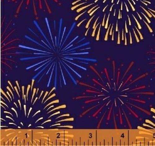 WINDHAM FABRICS - LADY LIBERTY - Whistler Studios - Fireworks - Navy