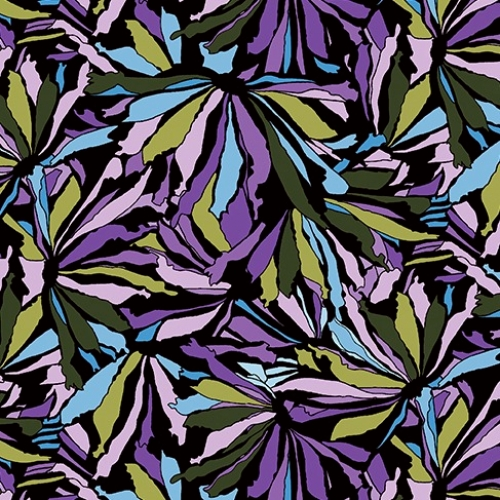 BAUM TEXTILES - Midnight Poppies - Mosaic Petals - Green/Purple