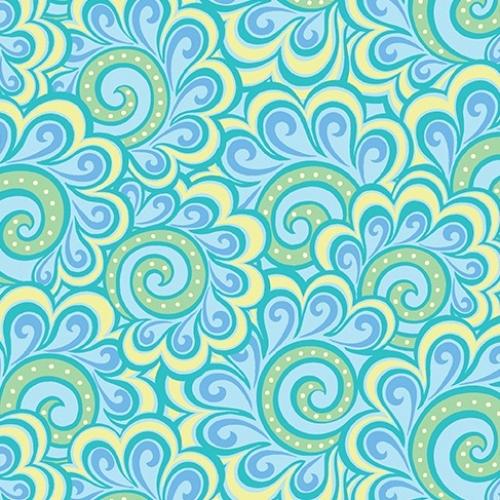 BENARTEX - Contempo - Free Motion Fantasy - Swirl Feather Aqua