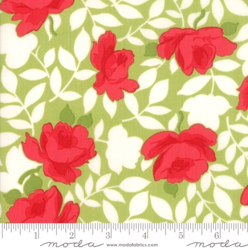 MODA FABRICS - Little Snippets - Roses Green - #2552-