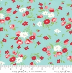MODA FABRICS - Little Snippets - Tossed Flowers Aqua