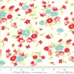 MODA FABRICS - Little Snippets - Tossed Flowers - #2544- White