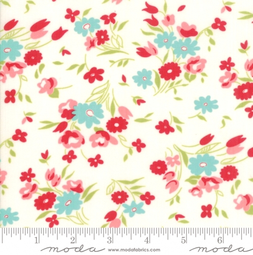 MODA FABRICS - Little Snippets - Tossed Flowers White