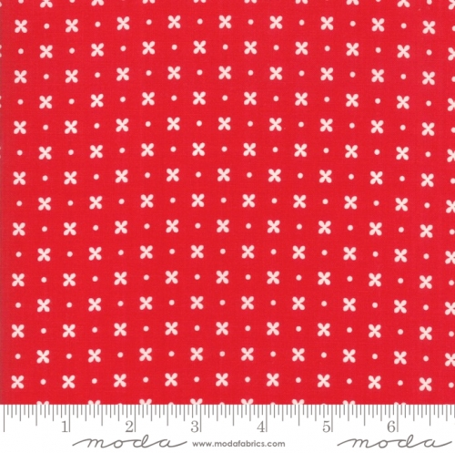 MODA FABRICS - Little Snippets - Flowers & Dots Red
