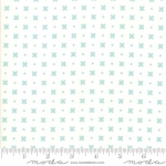 MODA FABRICS - Little Snippets - Flowers & Dots White/Aqua